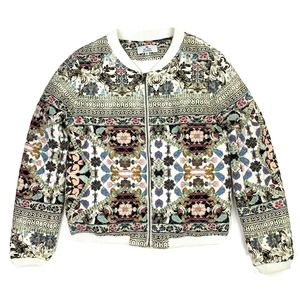 We Are Kindred Quilted Bomber Jacket Cream Floral